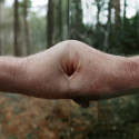 Untitled (Father's clenched fist with flipped photograph of his clenched fist), 50 x 23cm, Photograph 2016